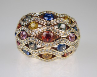 Multicolour sapphire & diamond ring in 18ct rose gold