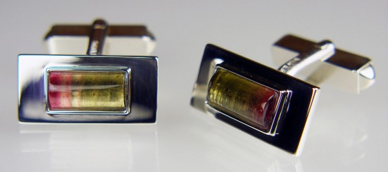 Watermelon tourmaline cabochon cufflinks in silver
