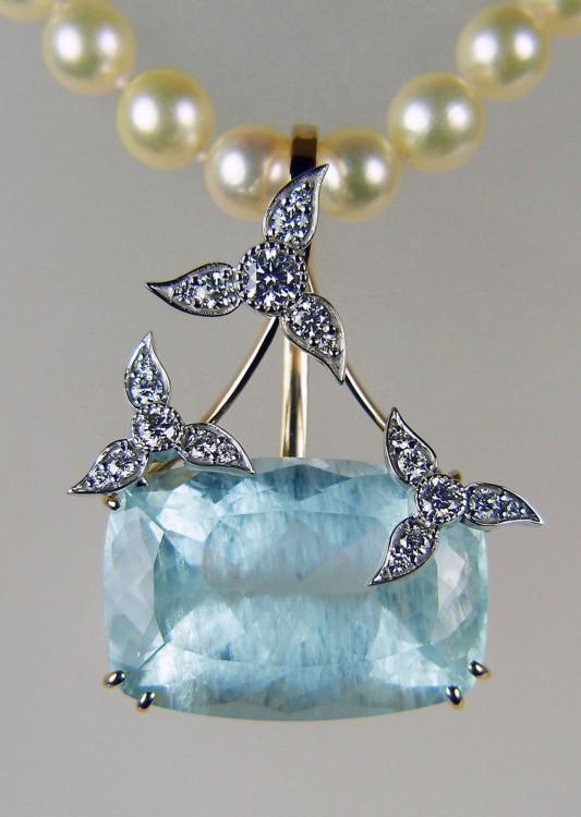 Fine jewellery just gems aquamarine diamond pendant fabulous large cushion cut aquamarine 4339ct with unusual inclusions aloadofball Gallery