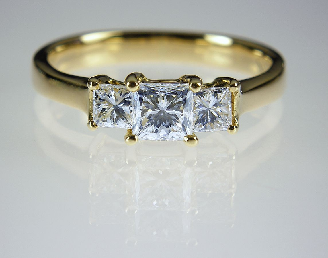 cut diamond ring in 18ct yellow gold sold 3 stone princess cut diamond ...