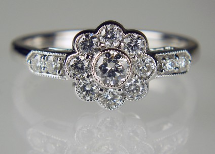 0.70ct diamond cluster ring - 0.70ct total diamond weight cluster ring. Set with G colour VS clarity diamonds in 18ct white gold with an 18ct white gold shank.