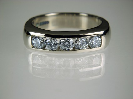 Diamond Ring in Palladium - Diamond 5 stone ring in palladium set with 0.82ct F colour SI1 clarity diamonds. Band 4.5mm wide.
