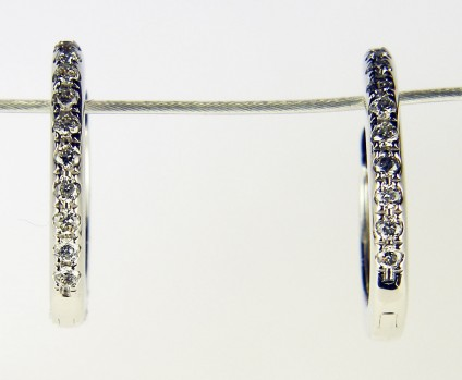 Dainty diamond earhoops - Dainty diamond hoop earrings in 18ct white gold