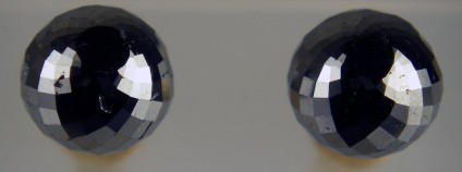 8.12ct faceted spherical black diamond stud earrings on 14ct yellow gold posts - Super sparkly spherical faceted black diamond ball pair weighing 8.12ct, 7.8mm in diameter, on 14ct yellow gold posts.  Simple, elegant and beautiful.