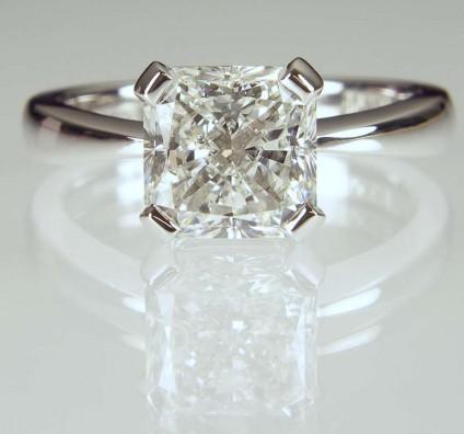 Radiant diamond solitaire ring - 2.01ct radiant cut diamond GIA cert F colour VS1 clarity, set in platinum