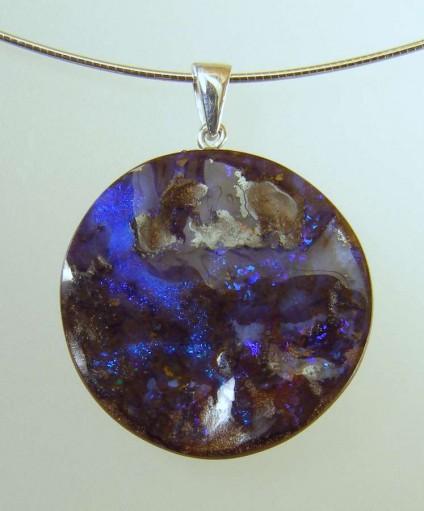 Boulder opal pendant - 39.33ct Queensland boulder opal pendant set in silver 25 x 25mm