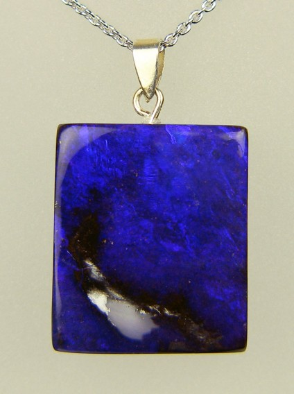 51.74ct purple boulder opal pendant - 20 x 24mm squarish rectangular boulder opal from Queensland, Australia, with intense purple tones, set with a silver bail and suspended from an adjustable silver chain