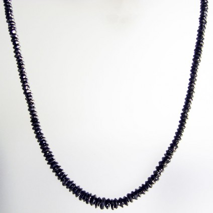Black diamond slice necklace - 69.91ct black diamond necklace made of slender sliced beads of black diamond 3.4-5.4mm in diameter with an 18ct white gold clasp. Necklace is 47cm long.