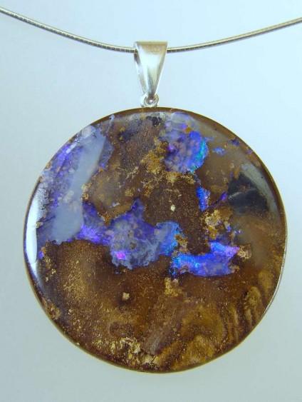 Boulder opal pendant - 70.29ct Queensland boulder opal pendant with silver bail 35 x 35mm