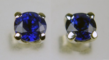4mm round blue sapphire earstuds in 9ct white gold - 0.60ct round cut sapphire pair, each stone 4mm round, claw set in 9ct white gold earstuds