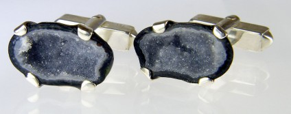 Agate geode cufflinks in silver - Pair of miniature agate geodes from Mexico set in silver as cufflinks