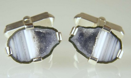 Agate Geode Cufflinks in Silver - Miniature agate geodes from Mexico mounted in silver