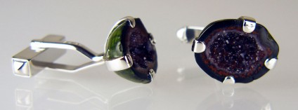 Agate geode cufflinks in silver - Mexican agate geode pair set in silver as cufflinks