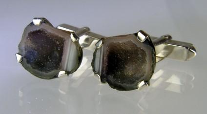 Agate geode cufflinks in silver - Pair of miniature agate geodes from Mexico set as cufflinks in silver