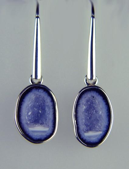 Agate Geode Earrings - Agate geode earrings in silver