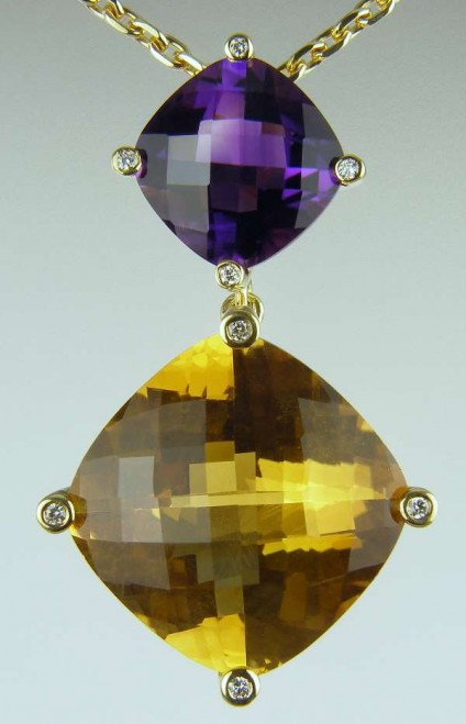 Amethyst, citrine & diamond pendant - Pendant of cushion cut citrine 13.81ct and 3.93ct amethyst set with 0.05ct diamonds FG/VS in 18ct yellow gold on 18ct yellow gold chain