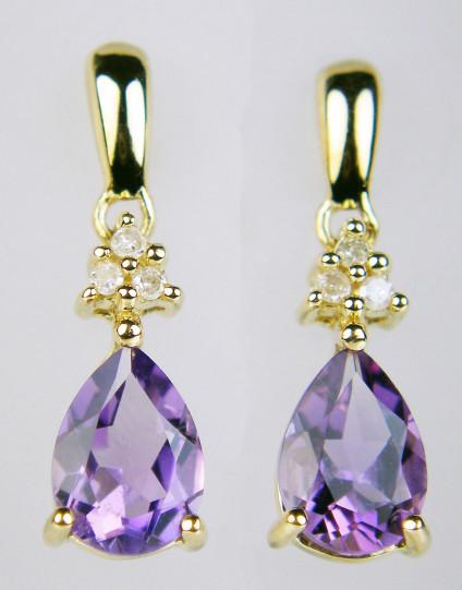 Amethyst & diamond earrings in 9ct yellow gold - Amethyst pear drop set below a triple cluster of diamonds in 9ct yellow gold