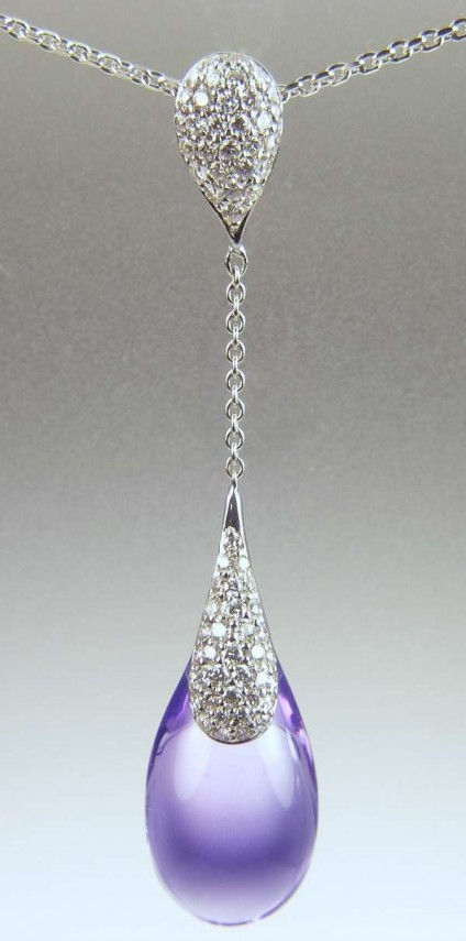 Amethyst & diamond necklace - 12.04ct amethyst drop set with 0.47ct of round brilliant cut diamonds in 18ct white gold
