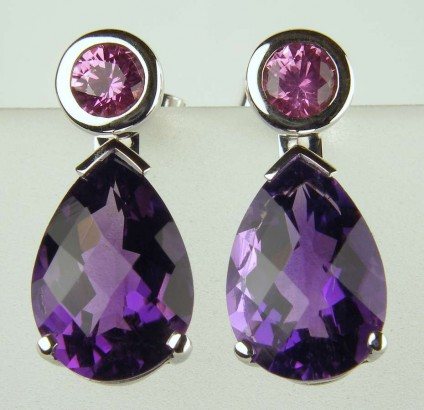 Pink sapphire earstuds with detachable amethyst drops -