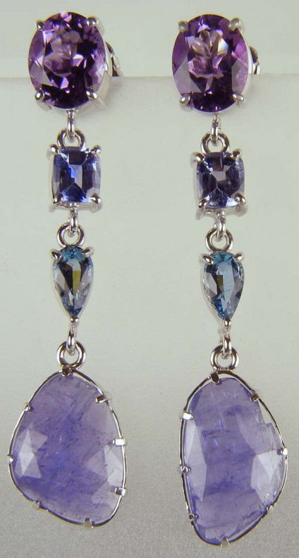 Tanzanite, amethyst, aquamarine & sapphire drop earrings - Beautiful drop earrings in 18ct white gold set with 4.65ct oval amethyst pair, 1.90ct cushion cut sapphire pair, 0.93ct pear cut aquamarine pair and 9.88ct pair of faceted tanzanite slices