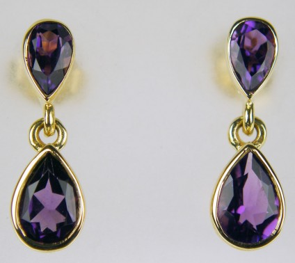 amethyst drop earrings in 9ct yellow gold - Pretty amethyst pear drop earrings in 9ct yellow gold. Earrings are 14mm long