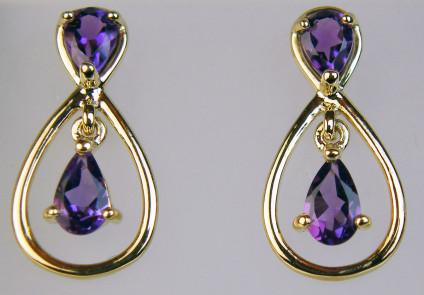 Amethyst pear drop earrings - Delicate double pear cut earrings with 0.606ct amethyst in 9ct yellow gold