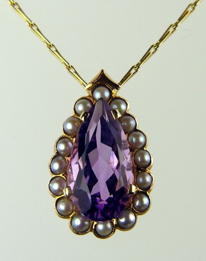 "Amethyst & seed pearl pendant - Pear cut amethyst set in recycled 18ct gold and seed pearl mount on 18"" 18ct barleycorn chain"