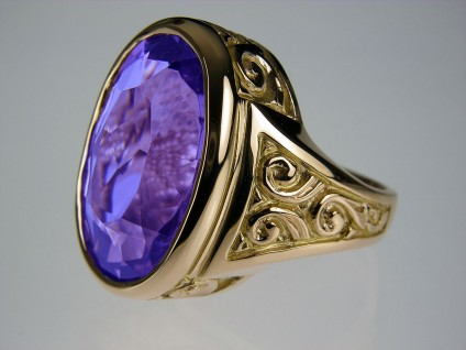 Amethyst ring in gold - Amethyst & rose gold ring. Amethyst was inherited by client, repolished and set in a rose gold mount, reproducing the design of the original, damaged and badly worn Victorian rose gold setting.