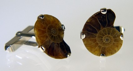 Ammonite cufflinks in silver - An ammonite sliced in two, to make a pair of ammonite cufflinks in silver
