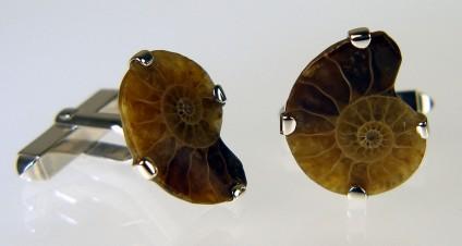 Ammonite cufflinks in silver - An ammonite sliced in two, to make a pair of ammonite cufflinks in silver