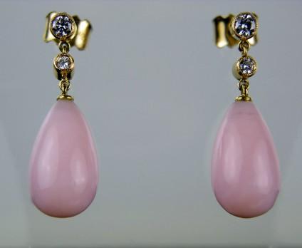 Pink Opal & Diamond Earrings - Pink 'Angel skin' opal drop earrings with 0.21ct diamonds set in yellow gold