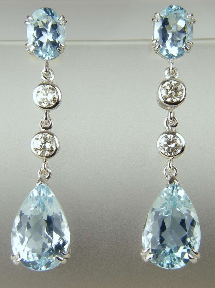 Aquamarine & diamond drop earrings - 7.6ct pear & oval cut aquamarines set with 0.66ct diamonds in 14ct white gold