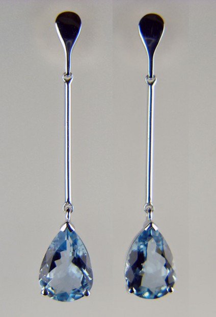 Aquamarine drop earrings - 2.65ct aquamarine pear cut pair set in 18ct white gold