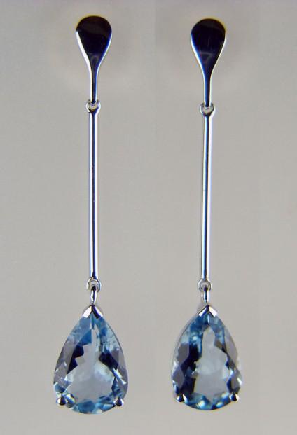 Aquamarine drop earrings - 2.65ct aquamarine pear cut pair set in 18ct white gold
