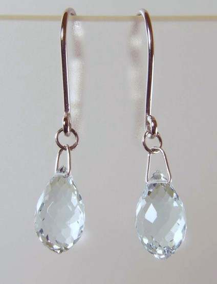 Aquamarine briolette drop earrings in 18ct white gold - 3.81ct aquamarine briolette earring drops on 18ct white gold wires