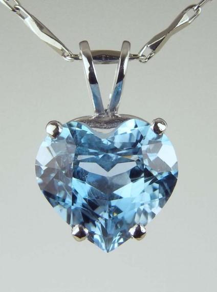 Heart Cut Aquamarine Pendant - 2.64ct heart cut aquqmarine pendant in platinum
