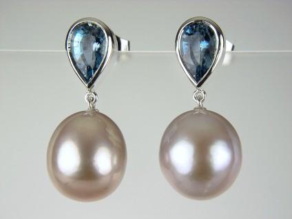 Aquamarine & Pearl Earrings -