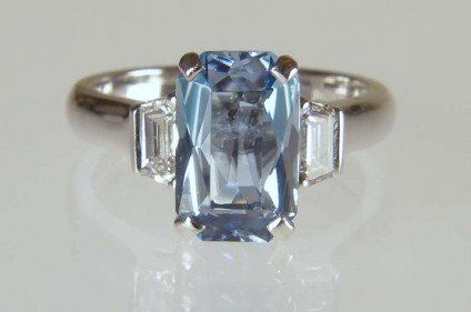 Aquamarine & diamond ring in platinum - 1.65ct mixed octagonal cut aquamarine set with 0.37ct tapered baguette diamonds D colour SI1 clarity in a handmade platinum ring