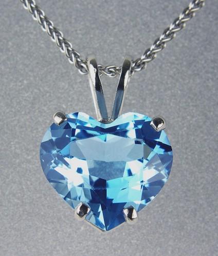 Aquamarine Pendant in Platinum -  2.84ct heart cut aquamarine from Mozambique set in platinum.