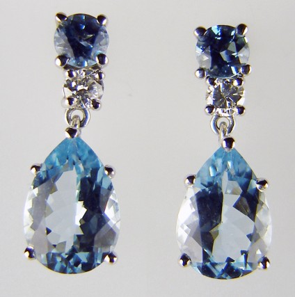Aquamarine & Diamond Detachable Earrings - 3.2ct aquamarine pear cut pair set with 0.19ct G colour VS clarity diamonds as detachable drops suspended from a matched  1ct pair of aquamarine simple earstuds in 18ct white gold
