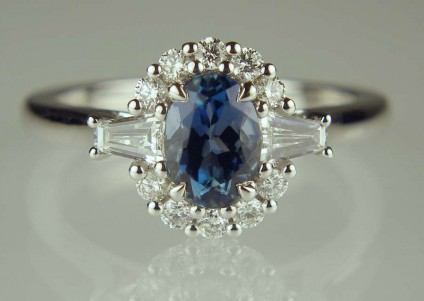 Aquamarine & diamond ring - 0.80ct oval deepest blue coloured aquamarine set with 0.45ct of G colour VS clarity baguette and round brilliant cut diamonds in 18ct white gold