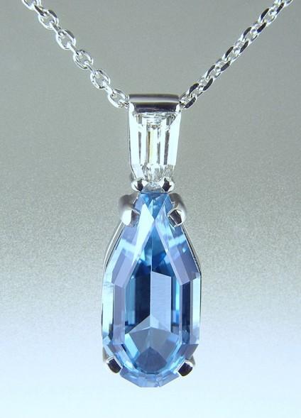 Aquamarine & Diamond Pendant in Platinum -