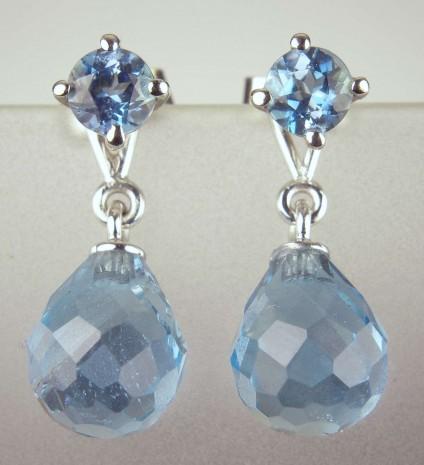 Aquamarine stud & detachable drop earrings - 1ct round brilliant cut aquamarine earstuds with detachable 5.45ct facetted briolette aquamarine drops in 18ct white gold