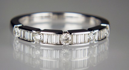 Diamond Eternity Ring - N colour H/S clarity 0.26ct round cut diamonds and 0.22ct baguette cut diamonds eternity ring in 18ct white gold