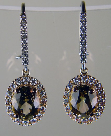Bicolour tourmaline & diamond drop earrings in rose gold - Delicate yellow/pink bi colour oval toumaline pair 3.47ct, set with 0.86ct brilliant cut diamonds in F colour VS clarity and mounted in 18ct rose and white gold as beautiful drop earrings