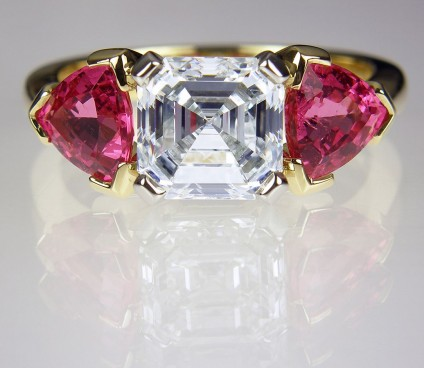 Diamond & Spinel Ring - Asscher cut diamond & Mehenge spinel ring.  2ct H/Si1 GIA certificated diamond set in platinum and flanked with a matched trillion cut pair of Tanzanian Mehenge spinels totalling 1.75ct set in 18ct yellow gold on yellow gold shank.