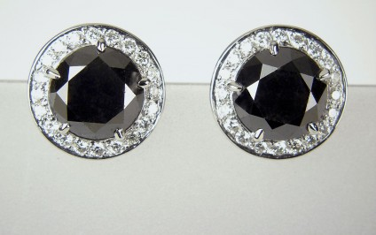 Black Diamond Earrings - Black diamond earrings - Earrings set with a matched pair of black diamonds totalling 7.25ct and 0.6ct of white diamonds in platinum.