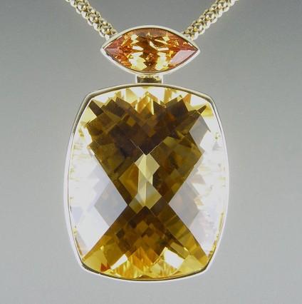 Citrine & Mandarin Garnet Pendant - Citrine and mandarin garnet pendant in 9ct yellow gold.