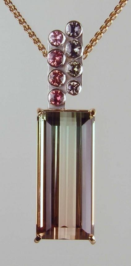 Watermelon tourmaline & sapphire pendant in rose & white gold -