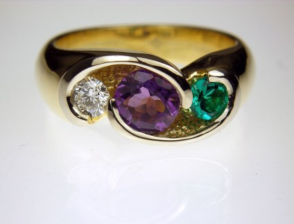 Amethyst, Diamond & Emerald Ring in 18ct yellow gold - Ring designed for customer using her children's birthstones.